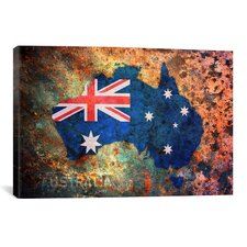 'Australia Flag Map' by Michael Tompsett Painting Print on Canvas