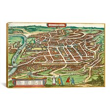 Antique Maps of Vilnius, Lithuania (Braun and Hogenberg, 1599) Graphic Art on Canvas