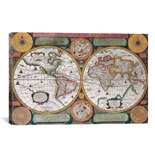 Antique Map Terre Universelle, 1594 Graphic Art on Canvas