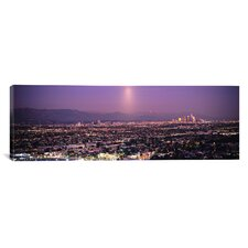 Panoramic Buildings in a City Lit Up at Dusk, Hollywood, San Gabriel Mountains, Los Angeles County, California Photographic Print on Canvas