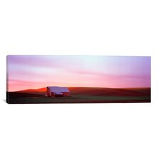 Panoramic Barn in a Field at Sunset in Palouse, Washington Photographic Print on Canvas