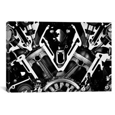 Cars and Motorcycles Engine Front Grayscale Graphic Art on Canvas