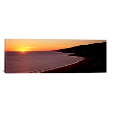 Panoramic Malibu Beach at Sunset in Los Angeles County, California Photographic Print on Canvas