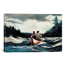 'Canoe in The Rapids 1897' by Winslow Homer Painting Print on Canvas