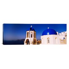 Panoramic Church with Sea in the Background, Santorini, Cyclades Islands, Greece Photographic Print on Canvas