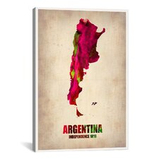 Naxart 'Argentina Watercolor Map' Graphic Art on Canvas
