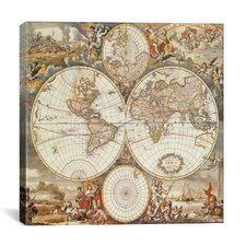 'Antique World Map III' by Interlitho Designs Graphic Art on Canvas
