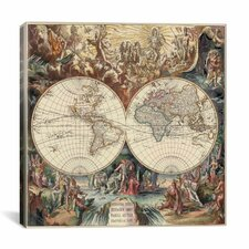'Antique World Map I' by Interlitho Designs Graphic Art on Canvas