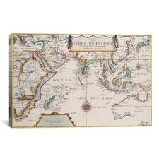 Antique Map of Indian Ocean Graphic Art on Canvas