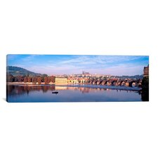 Panoramic Charles Bridge, Hradcany Castle and St. Vitus Cathedral , Prague, Czech Republic Photographic Print on Canvas
