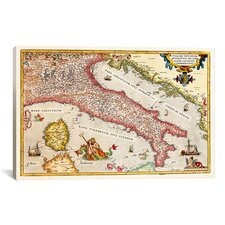 Antique Maps of Italy Graphic Art on Canvas