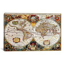 Antique Double Hemisphere Map of The World (Hondius, Henricus c 1630) Graphic Art on Canvas
