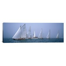 Panoramic Yachts Racing in the Ocean, Annual Museum of Yachting Classic Yacht Regatta, Newport, Newport County, Rhode Island Photographic Print on Canvas