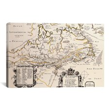 Antique Map of Canada Graphic Art on Canvas