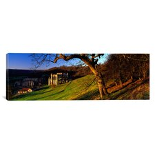 Panoramic Church on a Landscape, Rievaulx Abbey, North Yorkshire, England, United Kingdom Photographic Print on Canvas