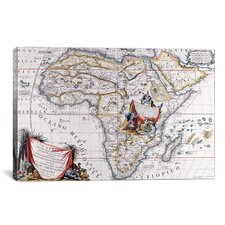 Antique Map of Africa Graphic Art on Canvas