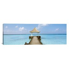 Panoramic Beach and Pier The Maldives Photographic Print on Canvas