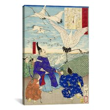 Yoritomo Releasing Cranes on The Seashore Japanese Woodblock Graphic Art on Canvas