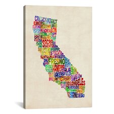 'California Typography Text Map' by Michael Tompsett Textual Art on Canvas