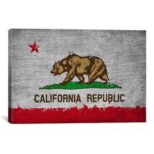 California Flag, Grunge Painted Graphic Art on Canvas