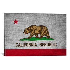 California Flag, Grunge Graphic Art on Canvas
