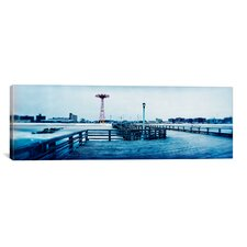 Panoramic City in Winter, Coney Island, Brooklyn, New York City, New York State Photographic Print on Canvas
