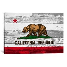 California Flag, Grunge Wood Boards Graphic Art on Canvas