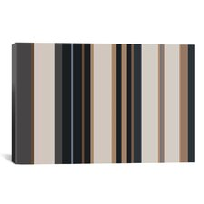 Striped Charcoal Khaki Brown Graphic Art on Canvas