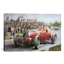 Cars and Motorcycles Alfa Romeo Heading to Victory Painting Print on Canvas