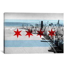 Chicago Flag, Chicago Skyline Graphic Art on Canvas