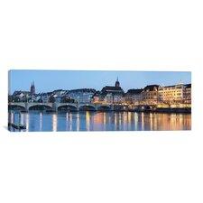 Panoramic Mittlere Rheinbrucke, St. Martin's Church, River Rhine, Basel, Switzerland Photographic Print on Canvas
