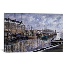 'Boston: The Commercial Wharf' by Stanton Manolakas Painting Print on Canvas