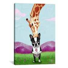 Boston Terrier Giraffe by Brian Rubenacker Graphic Art on Canvas