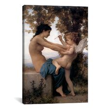 'A Young Girl Defending Herself Against Eros' by William-Adolphe Bouguereau Painting Print on Canvas