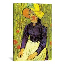 'Young Peasant Woman with Straw Hat Sitting in Front of a Wheat Field' by Vincent van Gogh Painting Print on Canvas