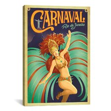 'Carnaval - Rio De Janeiro, Brazil' by Anderson Design Group Vintage Advertisement on Canvas
