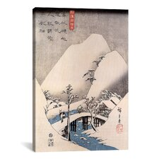 Ando Hiroshige 'A Bridge in a Snowy Landscape' by Utagawa Hiroshige l Graphic Art on Canvas