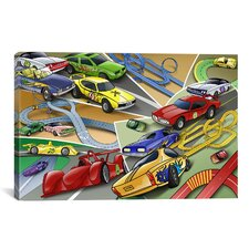 Kids Children Cartoon Racing Cars Canvas Wall Art