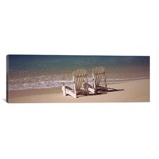 Panoramic Adirondack Chair on the Beach, Bahamas Photographic Print on Canvas