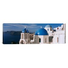 Panoramic High Angle View of a Church, Church of Anastasis, Santorini, Greece Photographic Print on Canvas