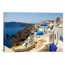 Panoramic Oia, Santorini, Cyclades Islands, Greece Photographic Print on Canvas
