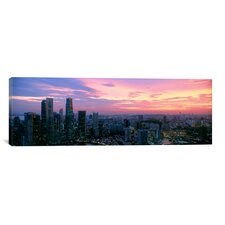 Panoramic High Angle View of a City at Sunset, Singapore City, Singapore Photographic Print on Canvas