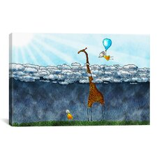 Kids Children Giraffe over The Clouds Canvas Wall Art