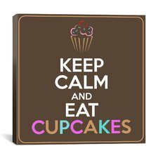 Keep Calm and Eat Cupcakes Textual Art on Canvas