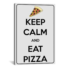 Keep Calm and Eat Pizza Textual Art on Canvas
