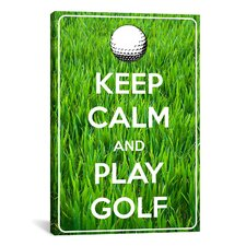 Keep Calm and Play Golf Textual Art on Canvas