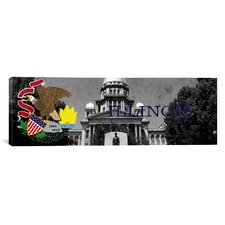Illinois Flag, Capitol Building Panoramic Graphic Art on Canvas