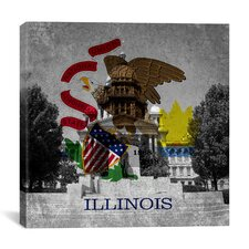 Illinois Flag, Capitol Building with Grunge Graphic Art on Canvas