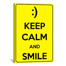 Keep Calm and Smile Textual Art on Canvas