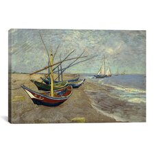 Fishing Boats on the Beach at Les Saintes Maries de la Mer by Vincent van Gogh Painting Print on Canvas